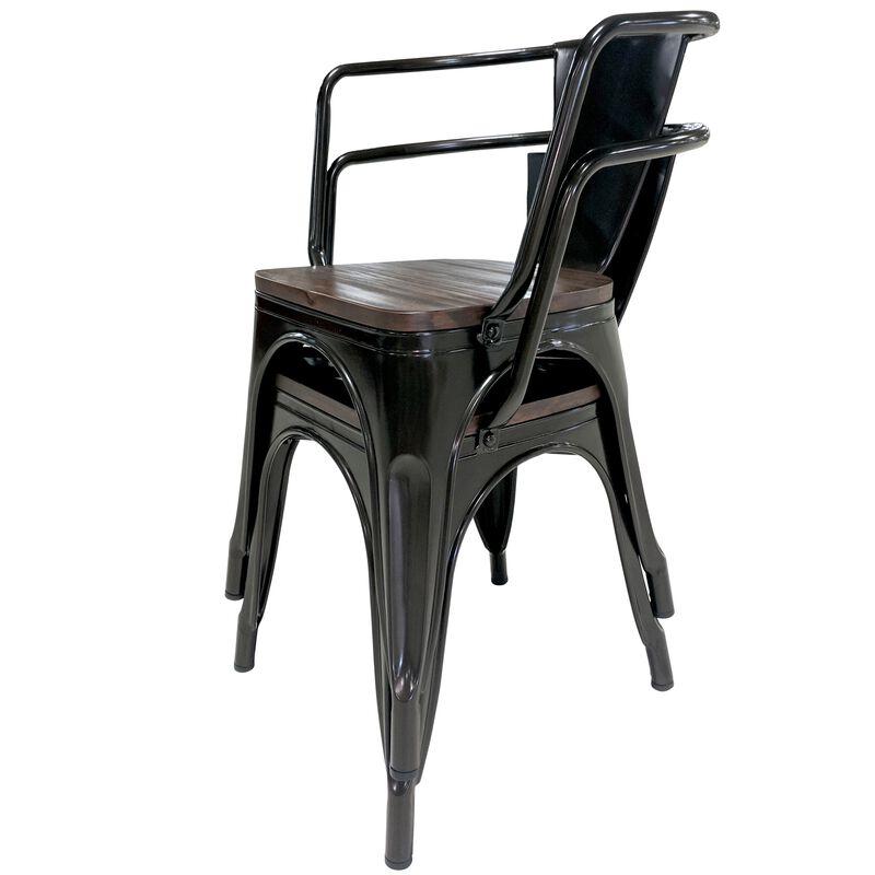 Set of 2 Bronze Stamped Metal Stacking Chair w/ Wood Seat