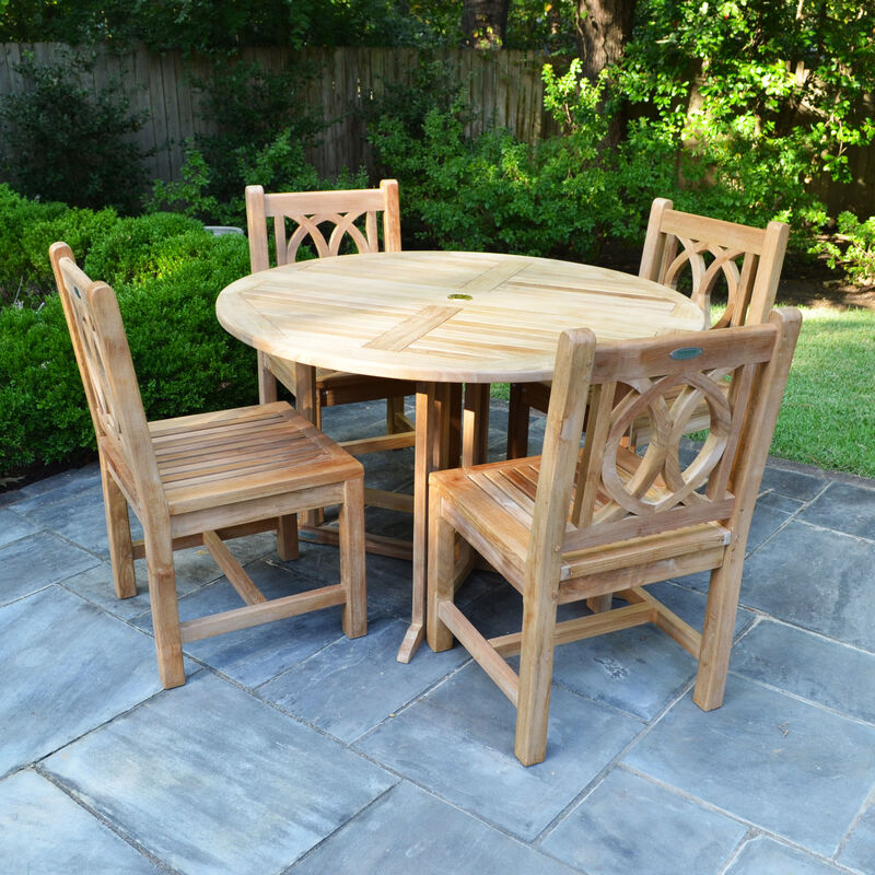 Teak 35-In Round Folding Table with 4 Lismore Chairs