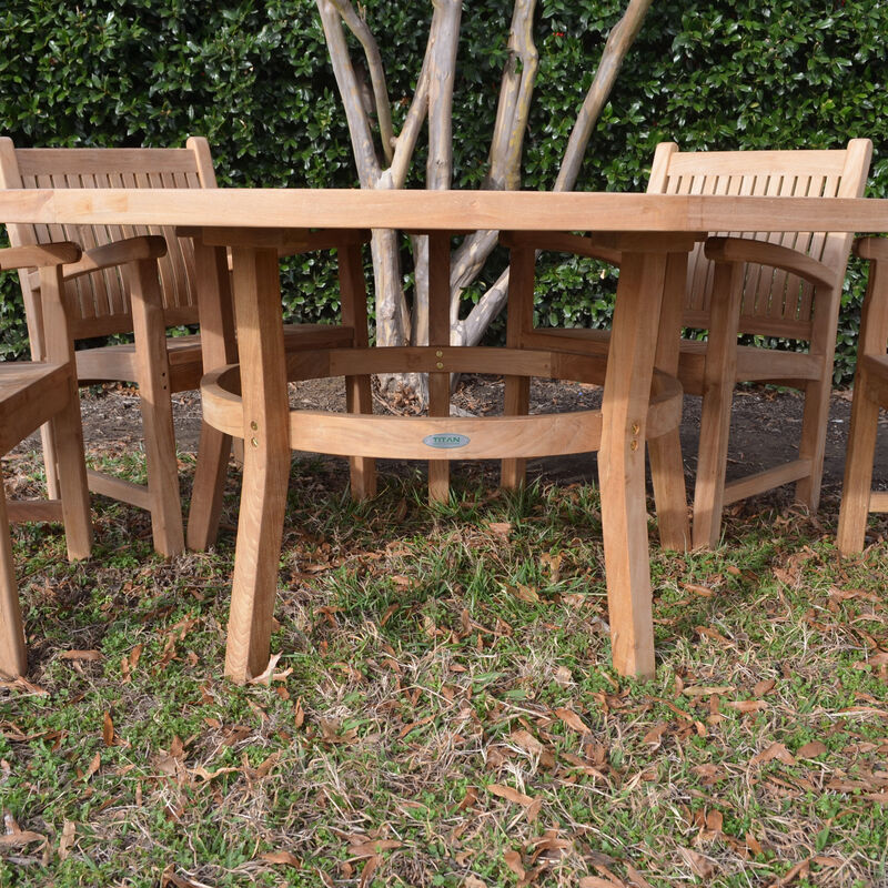 Teak 71-In Round Dining Table with 4 Arm Chairs