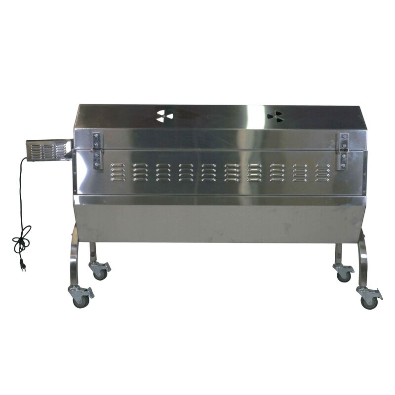 25W Stainless Steel Rotisserie Grill Roaster w/Glass Hood