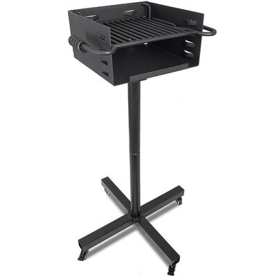 Heavy-Duty Park Style Grill With Rolling Base