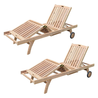 Set of 2 Teak Reclining Loungers