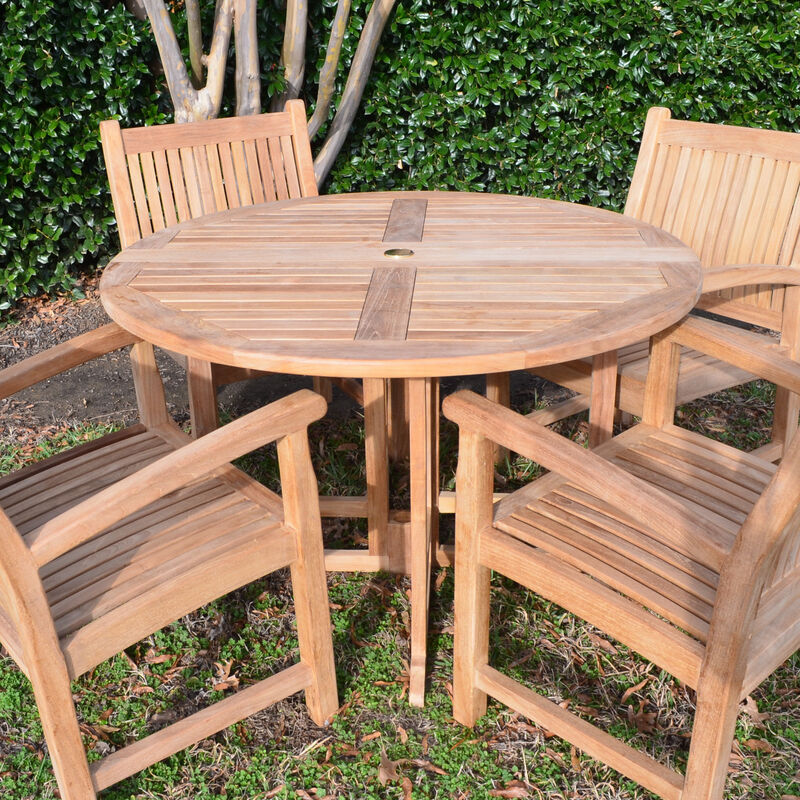 Teak Round Folding Table | 47-In