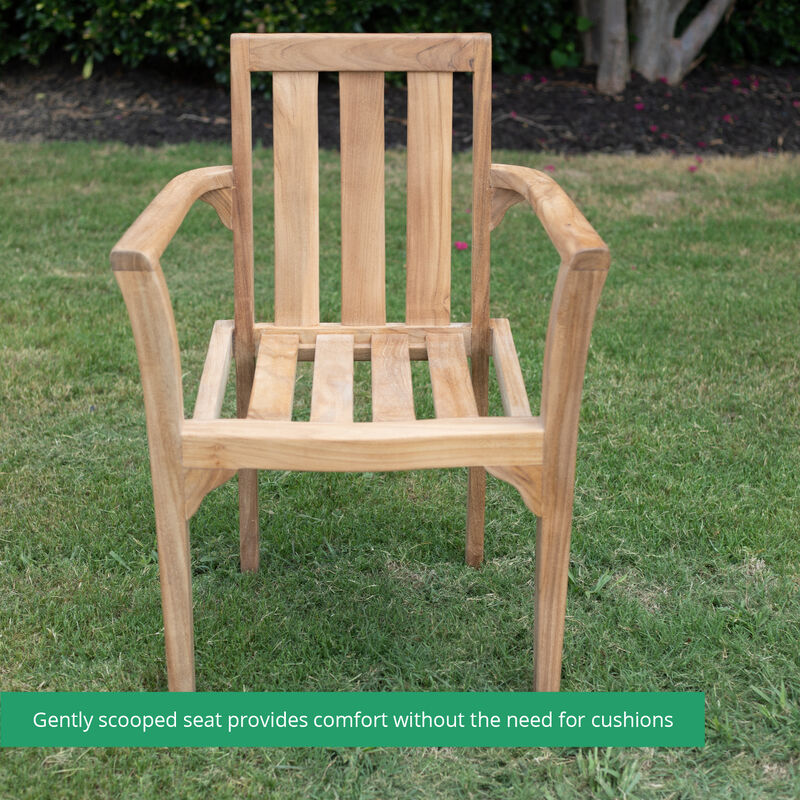 Grade A Teak 6 Pack Classic Stacking Chairs