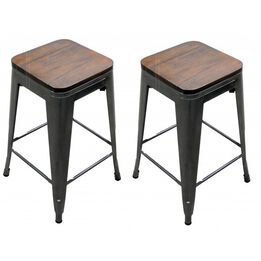 Scratch and Dent - Set of 2 Distressed Gunmetal Stamped Stacking Bar Stools w/ Wood Seat - FINAL SALE
