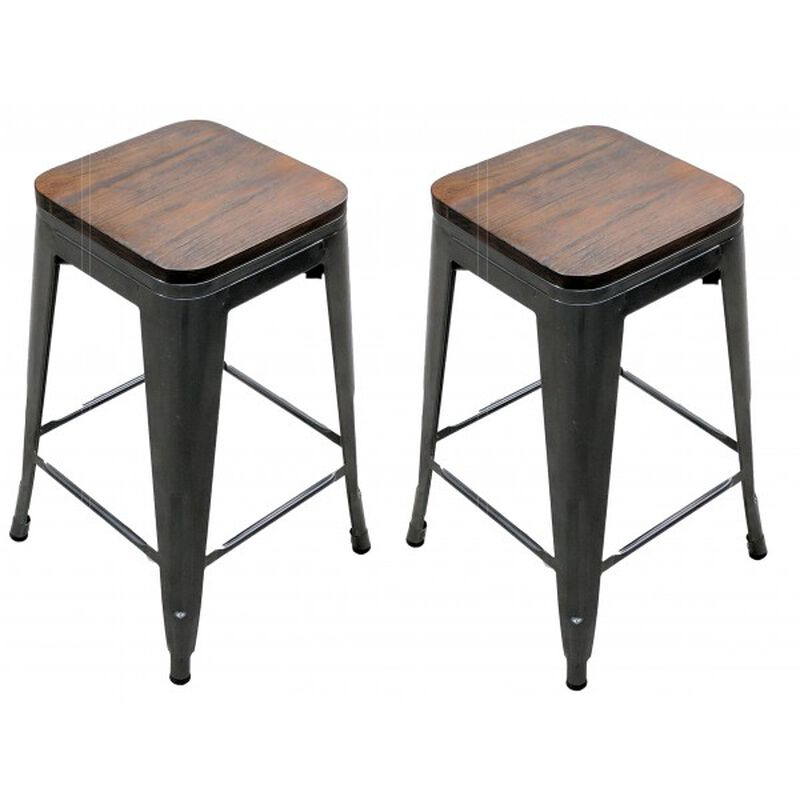 Set of 2 Distressed Gunmetal Stamped Stacking Bar Stools w/ Wood Seat