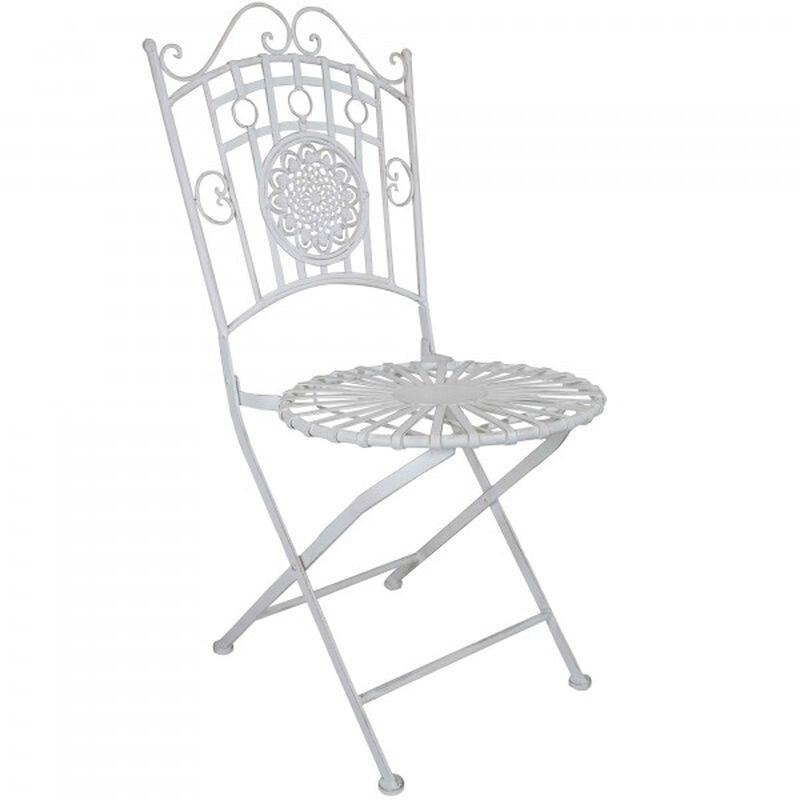 3 Piece White Metal Table & Chair Set