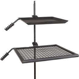 Adjustable Campfire Swivel Grill Fire Pit Cooking Grate & Griddle Plate BBQ