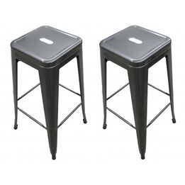 SCRATCH AND DENT - Distressed Metal 30 in. Stamped Metal Stacking Stools 2-pack - FINAL SALE