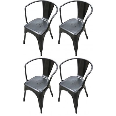 Set of 4 Distressed Gunmetal Stamped Stacking Chairs