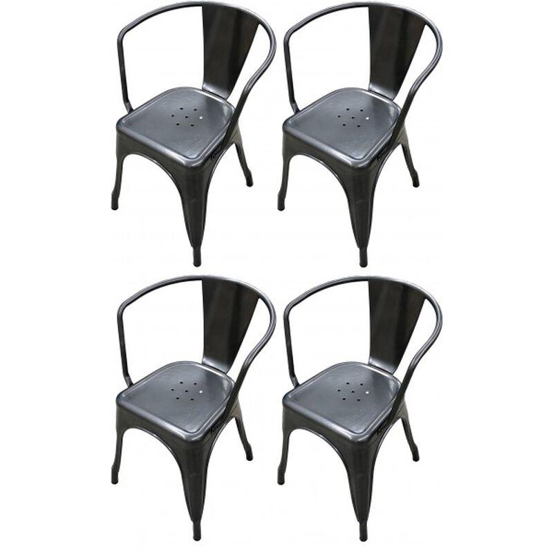 Set of 4 Distressed Gunmetal Stamped Stacking Chairs