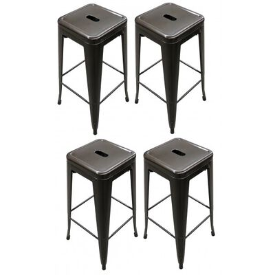 Set of 4 Stamped Metal Bar Stools 30""