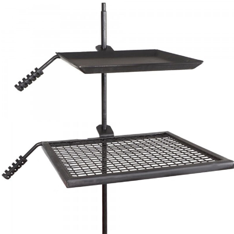Adjustable Swivel Grill Grate and Griddle Plate