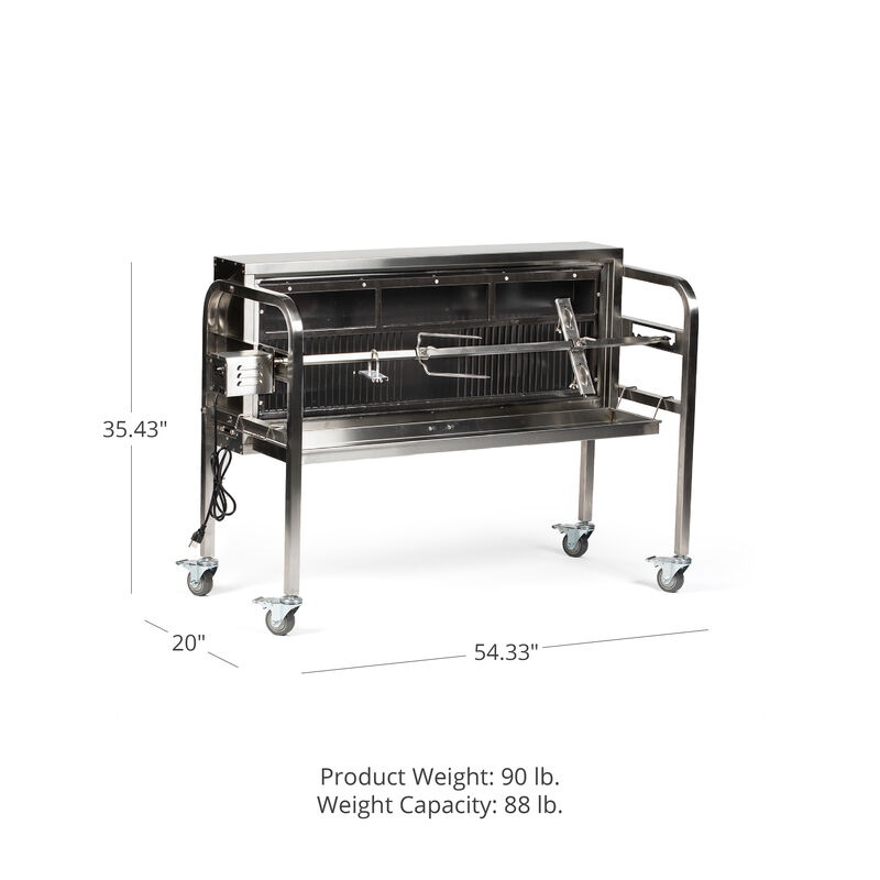 "48"" Charcoal Spit Rotisserie Roaster - Stainless Steel Pig, Boar & Hunting Grill"