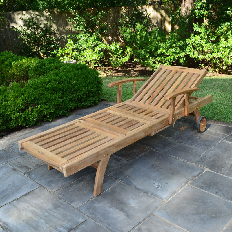 Teak Reclining Lounger with Armrests