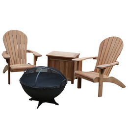 """Set of 2 Teak Adirondack Chairs with 32"""" Hemisphere Fire Pit and Ice Chest"""