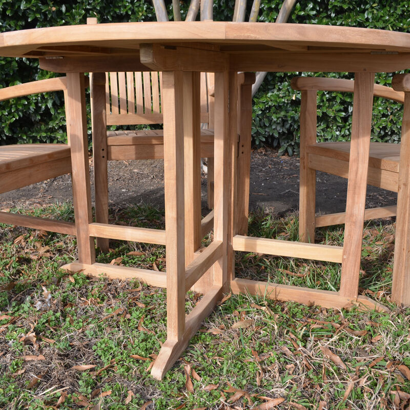 Teak 47-In Round Folding Table with 4 Arm Chairs