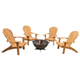 "Grade A Teak Adirondack Chairs with 32"" Hemisphere Fire Pit"