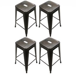 Set of 4 Stamped Bronze Metal Barstools