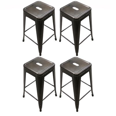 Set of 4 Stamped Metal Bar Stools
