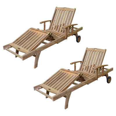 Set of 2 Teak Reclining Loungers with Armrests