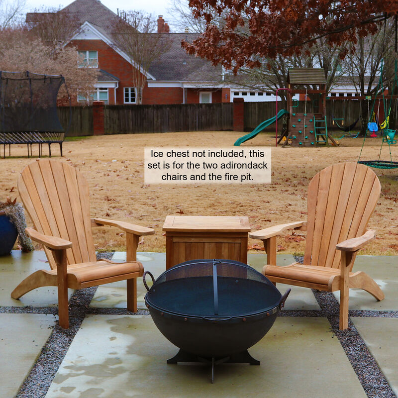 Set Of 2 Teak Adirondack Chair With 32