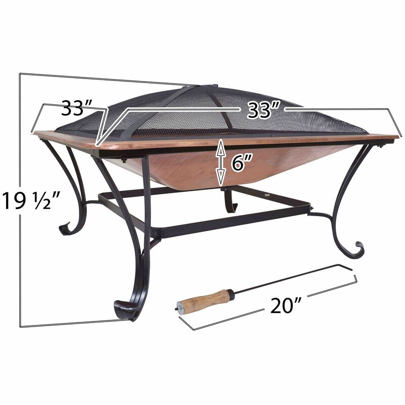 """Titan 33"""" Square Solid 100% Copper Fire Pit Bowl Wood Burning Patio Deck Grill with Log Grate Ember Cover and Poker Tool"""