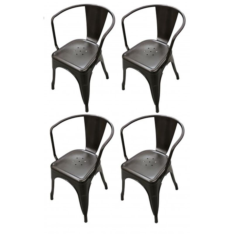Set of 4 Bronze Stamped Metal Stacking Chair