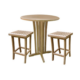 """Grade A Teak 35"""" Round Bar Table with two 29"""" Barstools"""