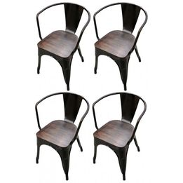 Scratch and Dent - Set of 4 Bronze Stamped Metal Stacking Chair w/ Wood Seat - FINAL SALE