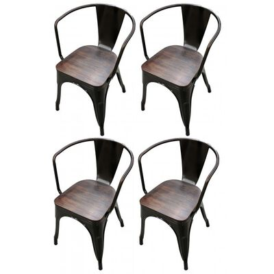 Set of 4 Bronze Stamped Metal Stacking Chair w/ Wood Seat