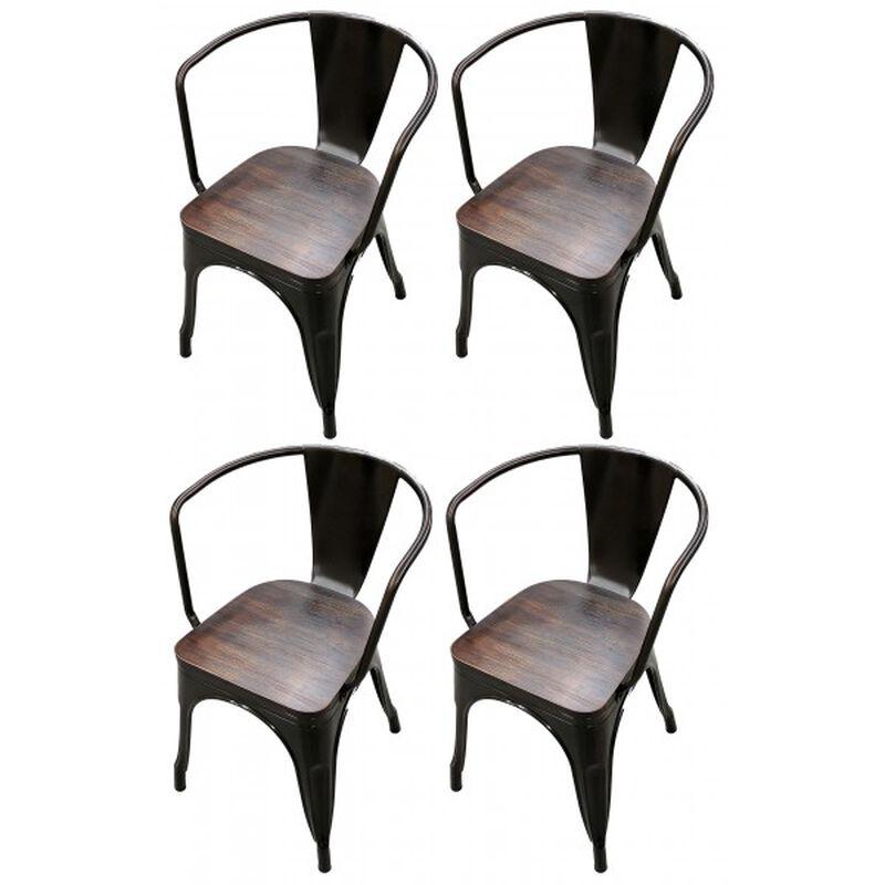 Set of 4 Bronze Stamped Metal Stacking Chair w/ Wood Seat