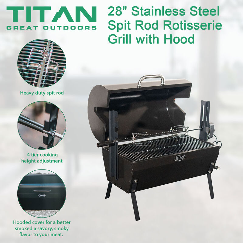 28-in Stainless Steel Spit Rod Rotisserie Grill with Hood