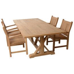 Teak 8-ft Farmhouse Trestle Table with 4 Armchairs