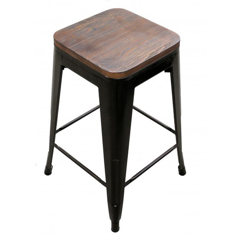Set of 2 Stamped Metal Bar Stools w/ Wood Seat