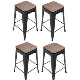 Scratch and Dent - Set of 4 Distressed Gunmetal Stamped Stacking Bar Stools w/ Wood Seat - FINAL SALE