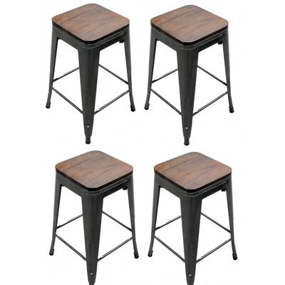 Set of 4 Distressed Gunmetal Stamped Stacking Bar Stools w/ Wood Seat