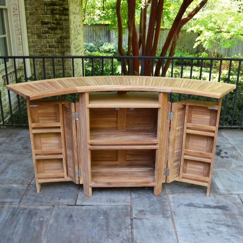 Teak Folding Bar Cabinet