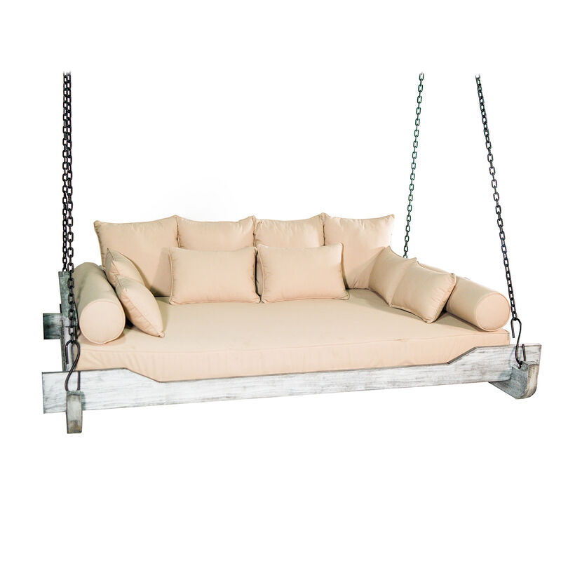 Montana Chain Porch Swing Bed with Cushions and Pillows | Grade A Teak | Queen Sized