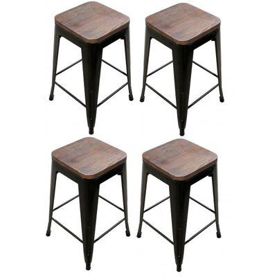 Set of 4 Stamped Metal Bar Stools w/ Wood Seat