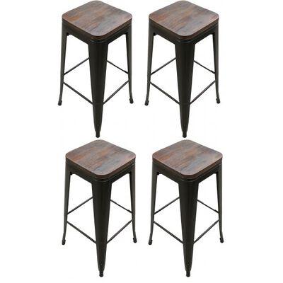 """Set of 4 Stamped Metal Bar Stools w/ Wood Seat 30"""""""