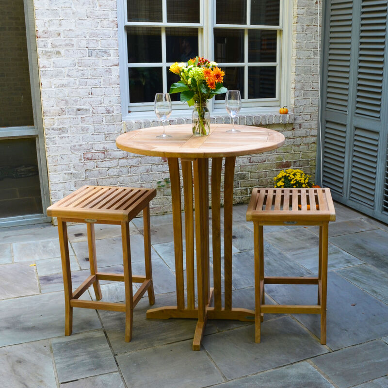 Teak 35-In Round Bar Table with two 29-In Bar Stools