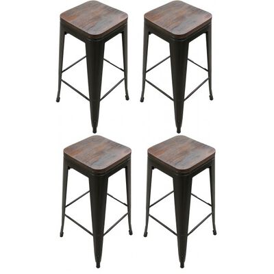 Set of 4 Stamped Metal Bar Stools w/ Wood Seat 30""