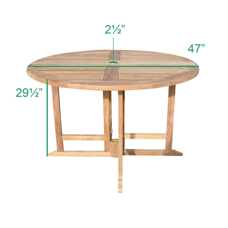 Teak 47-In Round Folding Table with 4 Armchairs