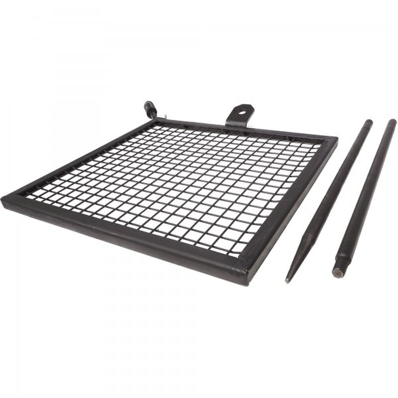 Adjustable Swivel Grill, Steel Mesh Cooking Grate with Spike Pole, Camping Gear