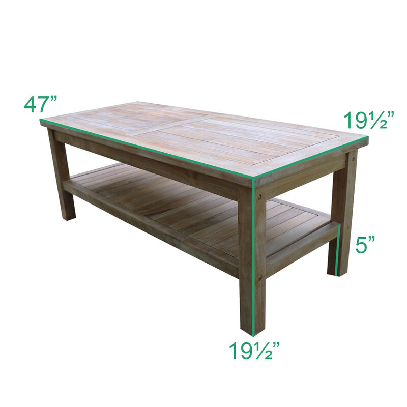 Titan Teak Outdoor Coffee Table with Shelf | 47""