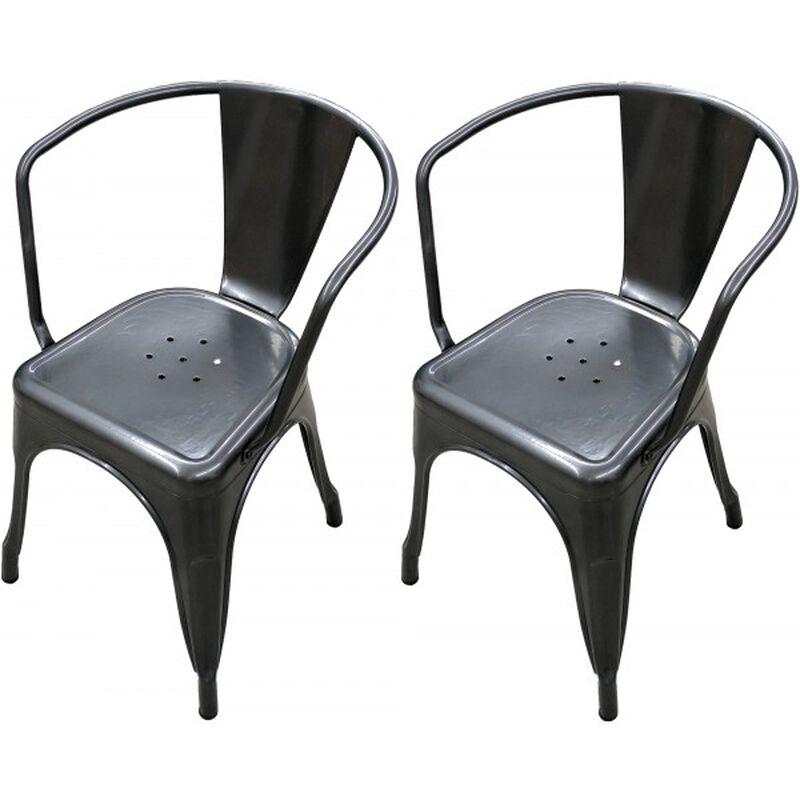 Set of 2 Distressed Gunmetal Stamped Stacking Chairs