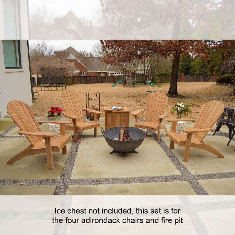 "Set of 4 Teak Adirondack Chair with 32"" Hemisphere Fire Pit"