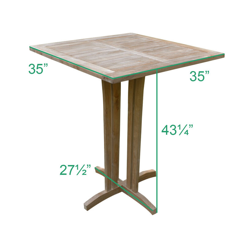 Teak Square Bar Table | 35-in