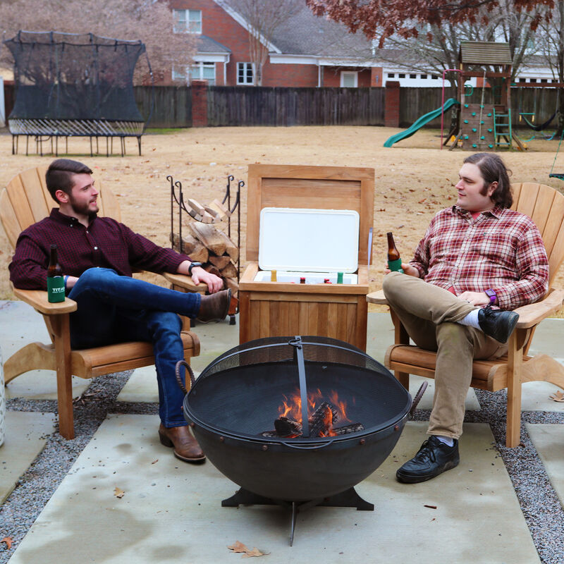 "Set of 2 Teak Adirondack Chairs with 32"" Hemisphere Fire Pit and Ice Chest"